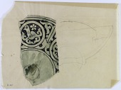 view D-907: Persian pottery, Garrus carved type, water-color. Base and side of bowl with encircled bird (fragment) digital asset: Colored Reconstruction of Ceramic: Fragment of Shallow Bowl with Animal Figure, Garrus Carved Type [drawing]