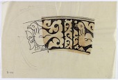 view D-913: Persian ceramics, Garrus, carved type, water-color. Side of bowl with birds digital asset: Colored Reconstruction of Ceramic: Fragment of Side of Bowl with Animal Figure, Garrus Carved Type [drawing]