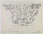 view D-919: Bisutun. Design on capital digital asset: Bisutun Site (Iran): Column Capital which Side Contains a Representation of Elaborate Scrolling Acanthus Plant [drawing]