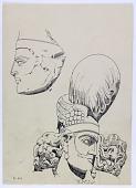 view D-983: Sasanian sculpture. Head of Bahrām II digital asset: Bishapur (Iran): Sasanian Reliefs Showing Bahram II Receiving a Delegation: Detail of Bahram II Wearing his Personal Crown [drawing]