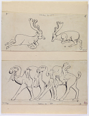 view D-993: Taq-i Bustan. Two deer from hunt. IAE, fig.419 digital asset: Taq-i Bustan (Iran): Sasanian Rock Reliefs, Large Vault, Relief Panel Picturing the Stag Hunt: Hunting Scenes [drawing]