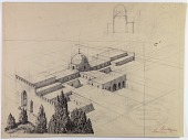 view D-1025: Excavation of Samarra (Iraq): Balkuwara Palace, Western Iwan and Cruciform Reception-Hall Block: Isometric Reconstruction digital asset: Excavation of Samarra (Iraq): Balkuwara Palace, Western Iwan and Cruciform Reception-Hall Block: Isometric Reconstruction [drawing]