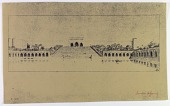 view D-1039: Samarra, Djausaq. Elevation and plan of window. Another copy D-1040 digital asset: Excavation of Samarra (Iraq): Palace of the Caliph (Dar al-Khilafa, Jawsaq al-Khaqani, Bayt al-Khalifah): Reconstruction of Monumental Steps Leading Down from the Bāb al-Amma to the Square Ornamental Pool, drawn by Friedrich Krefter, [drawing]