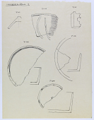 view Excavation of Samarra (Iraq): Fragments of Prehistoric Vessels and Artifacts, Found in the Qasr al-Ashiq [drawing] digital asset number 1