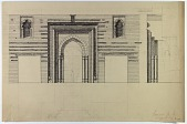 view Excavation of Samarra (Iraq): Great Mosque of al-Mutawakkil, Reconstruction of the Mihrab: Ground Plan and Section [drawing] digital asset number 1