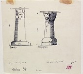 view D-1161: Iskelib and Qaleqapusu: columns.IAE, figs.318a and b digital asset: Iskelib and Qaleqapu (Turkey): Northern Tombs: Column with a Pair of Protomes of Kneeling Rams and Lions [drawing]