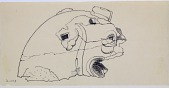 view Excavation of Pasargadae (Iran): Palace 'S': Drawing of Fragmentary Black Stone Impost Capital Modelled on a Hybrid, Horned and Crested Lion [drawing] digital asset number 1