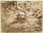 view Man buried in sand digital asset: Man buried in sand [graphic]