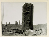 view Persepolis (Iran): Tripylon (Council Hall), Main Hall, West Jamb of Southern Doorway: View of Relief Picturing King and Attendants [graphic] digital asset number 1
