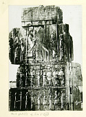 view Persepolis (Iran): Throne Hall, Northern Wall, West Jamb of Eastern Doorway: View of Relief Picturing Enthroned King Giving Audience, as well as Registers Picturing Persian and Median Guards [graphic] digital asset number 1