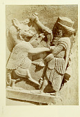 view Persepolis. Another view of same digital asset: Persepolis (Iran): Harem of Xerxes, Central Section of the Main Wing, Eastern Wall of Main Hall, North Jamb of Doorway: View of Relief Picturing Royal Hero Stabbing a Rampant Griffin [graphic]
