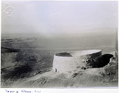 view Rayy. Tower of Silence from mountain. Probably taken by Herzfeld in 1905 digital asset: Rayy (Iran): Zoroastrian Tower of Silence (Khamushan Tower) [graphic]