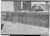 view Excavation of Persepolis (Iran): Tachara Palace (Palace of Darius), Central Fac̦ade of Southern Stairway: View of Relief Picturing Xerxes Inscription, XPcb, Akkadian Version, and Row of Persian Guards [graphic] digital asset number 1