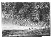 view Bisutun Site (Iran): Limestone Cliff of Bisutun: View of Foot of the Cliff digital asset: Bisutun Site (Iran): Limestone Cliff of Bisutun: View of Foot of the Cliff [graphic]