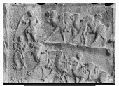 view Taq-i Bustan (Iran): Sassanid Rock Reliefs, Right Side of the Interior of the Large Vault with Investiture Relief of Khusro II: Close View of Relief Panel Picturing the Stag Hunt digital asset: Taq-i Bustan (Iran): Sassanid Rock Reliefs, Right Side of the Interior of the Large Vault with Investiture Relief of Khusro II: Close View of Relief Panel Picturing the Stag Hunt [graphic]