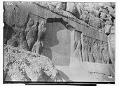 view Bisutun Site (Iran): The Parthian Remains: General View of Rock Reliefs of Mithridates II and Gotarzes II, as well as the Insertion of an Inscription by Shaikh Ali Khan Zangana digital asset: Bisutun Site (Iran): The Parthian Remains: General View of Rock Reliefs of Mithridates II and Gotarzes II, as well as the Insertion of an Inscription by Shaikh Ali Khan Zangana [graphic]