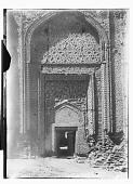 view Hamadan (Iran): Gunbad-i Alaywian: View of the Mausoleum's Entrance, Elaborately Decorated with Terra-cotta and Stucco digital asset: Hamadan (Iran): Gunbad-i Alaywian: View of the Mausoleum's Entrance, Elaborately Decorated with Terra-cotta and Stucco [graphic]