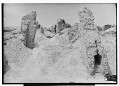 """view Excavation of Kuh-e Khwaja (Iran): Ruins of Ghaga-Shahr, """"Palace-Temple"""" Complex, East Wall of Courtyard: View of Remains of T-Shaped Iwan before Excavation digital asset: Excavation of Kuh-e Khwaja (Iran): Ruins of Ghaga-Shahr, """"Palace-Temple"""" Complex, East Wall of Courtyard: View of Remains of T-Shaped Iwan before Excavation [graphic]"""