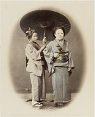 view [Two women, one with umbrella] digital asset: [Two women, one with umbrella], [graphic]