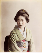 view [Woman wearing a stripped kimono], [1860 - ca. 1900]. [graphic] digital asset number 1