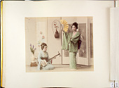 view [Two women with fan and shamisen] digital asset: [Two women with fan and shamisen], [graphic]