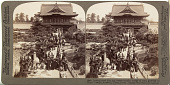 view (34) Looking north from top of semi-circular bridge to main gateway to Shinto Temple , Kameido, Tokyo, Japan, 1904 or earlier. [graphic] digital asset number 1
