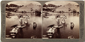 view (95) Crossing the lake on stepping-stones (N.E. to model of Fujiyama), Suizenji Park, Kumamoto, Japan, 1904 or earlier. [graphic] digital asset number 1