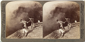 view (98) Gazing through sulphurous vapors into the crater's frightful depths Aso-San, Japan. 1904 or earlier. [graphic] digital asset number 1