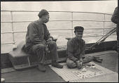view Chinese passengers aboard the Manchuria, playing a gambling game. 1905 digital asset number 1