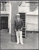 view Nicholas Longworth standing by a smokestack on board the S.S. Manchuria. 1905 digital asset number 1