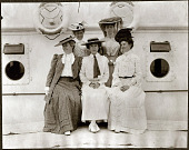 view A group photograph of Alice Roosevelt and female passengers on the SS Manchuria. 1905 digital asset number 1