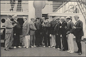 view Male members of the Delegation conversing on deck the SS Manchuria. 1905 digital asset number 1