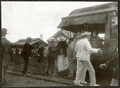 view Hawaii: Alice Roosevelt disembark from a rail car at a sugar plantation. 1905 digital asset number 1