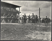 view Manila: William H: Taft and US Army troops pass a reviewing stand on horseback at Fort William McKinley digital asset: Manila: William H: Taft and US Army troops pass a reviewing stand on horseback at Fort William McKinley
