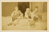 view Arpee Album: Photograph of Three Men and a Sleeping Lion in Chain [graphic] digital asset number 1