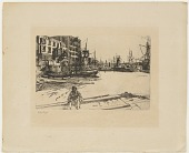"view Photogravure reproduction of ""Eagle Wharf,"" 1859 engraving, with added plate impression to paper digital asset number 1"