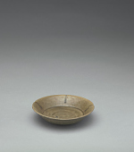 view Small dish with five-lobed rim, lobes accented with iron stripes digital asset number 1