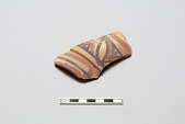 view Sherd, red body, black and red slip; unglazed, black and blue underglaze digital asset number 1