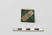 view Tile fragment, red clay; opaque turquoise green glaze, black and blue underglaze digital asset number 1