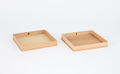 view Two square paulownia wood trays digital asset number 1