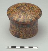 view Box, round, with painted design of heads and flowers. With cover digital asset number 1