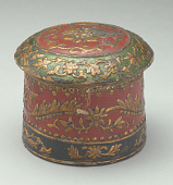 view Box, round (paper mache), floral decoration, with cover digital asset number 1