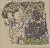 view Fragment of wall painting: two adoring bodhisattvas digital asset number 1