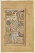 view Detached folio from a Baburnama; recto:The Emperor Babur and his men pitching camp, folio from a Baburnama; verso: text digital asset number 1