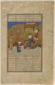 view Folio from a <i>Khamsa</i> (Quintet) by Amir Khusraw Dihlavi; verso: Amir Khusraw presents a book of poetry to Ala'uddin Khalji; recto: text digital asset number 1