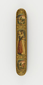 view Pen case with the dancer Louise Mante and parrots in medallions digital asset number 1