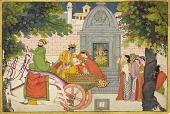 view Rukmini elopes with Krishna, folio from a <em>Bhagavata Purana</em> digital asset number 1