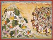 view Jarasandha's army advances toward Krishna and Balarama, folio from a Mahabharata digital asset number 1