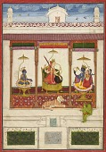 view The Goddess Devi with Krishna and Vishnu in a palace digital asset number 1