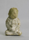 view Miniature seated figure holding a vase of lotus buds digital asset number 1